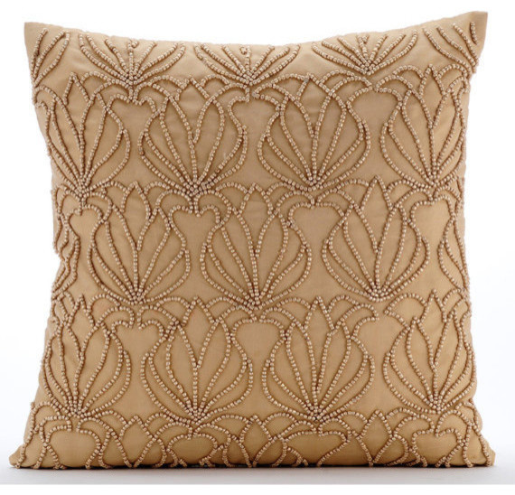 The HomeCentric - Beaded Lotus Pattern Gold Taffeta Throw Pillow Covers, Gold Jardin - View in ...