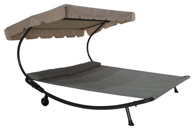 Outdoor Double Chaise Lounge Hammock Bed With Sun Shade and Wheels transitional-outdoor-chaise  sc 1 st  Houzz : chaise lounge beds - Sectionals, Sofas & Couches
