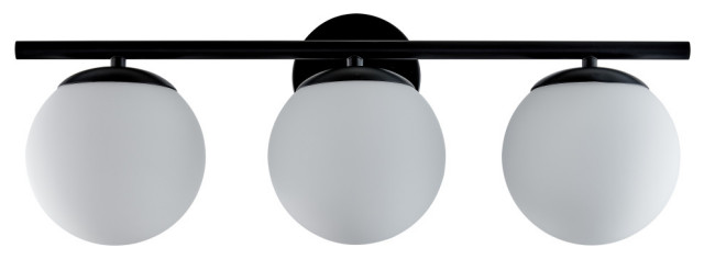 Aidan 3 Light Bathroom Sconce, Matte Black With Matte Frosted Glass