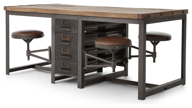 Wilkes Dining Table Industrial Desks And Hutches