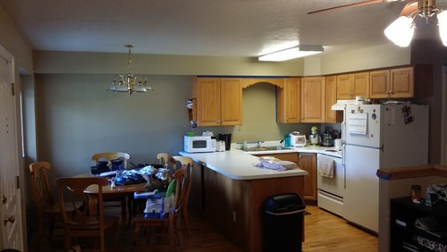 honey oak cabinets and gray paint??