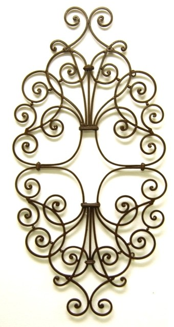 """Open Scroll Oval Iron Wall Grille, 42"""" Swirl Art Plaque Outdoor"""
