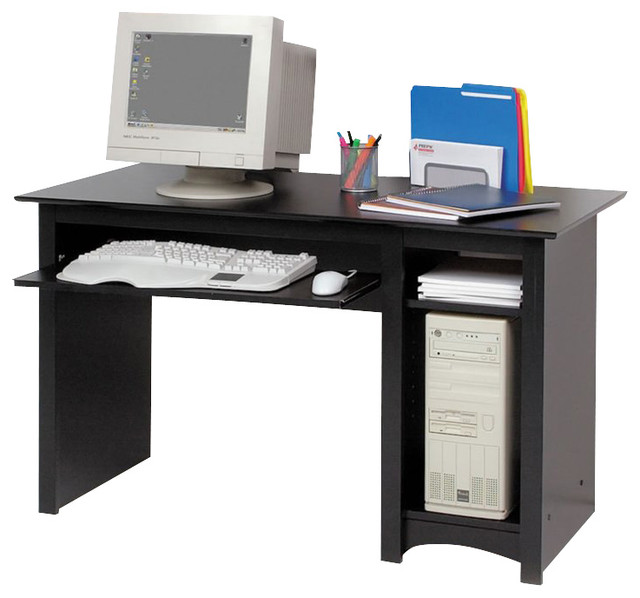 Prepac Sonoma Small Wood Laminate Computer Desk In Black Transitional Desks And Hutches