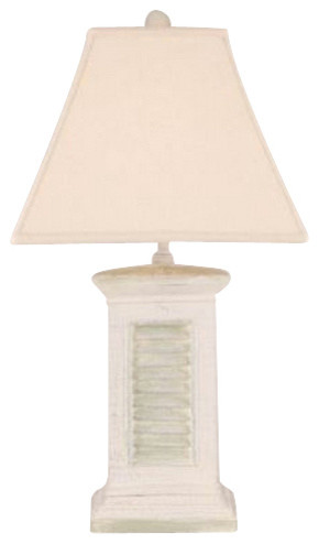 Shutter table lamp with sage accent farmhouse table lamps by shutter table lamp with sage accent aloadofball Images