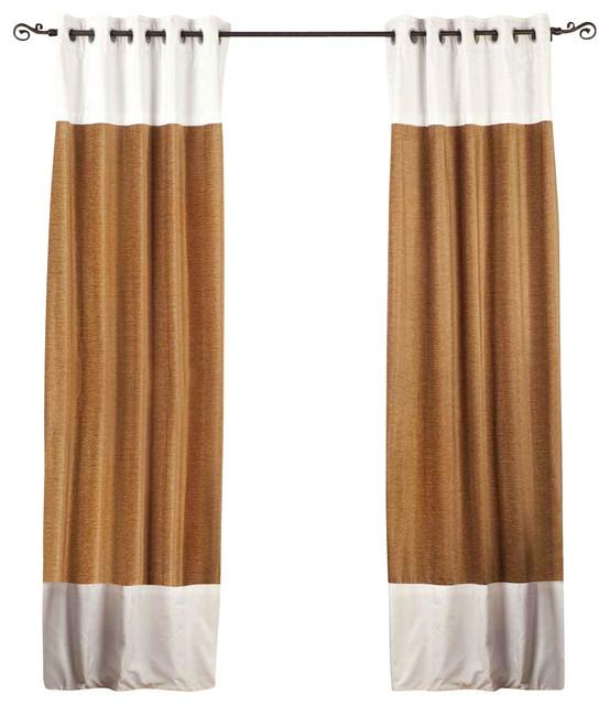 Signature Taupe and White designer Velvet Curtain Panel - Piece ...