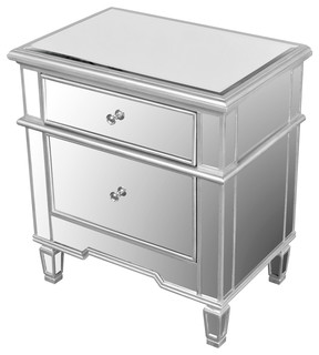 2-Drawer Mirrored Accent Stand - Contemporary - Nightstands And Bedside Tables - by Furniture ...