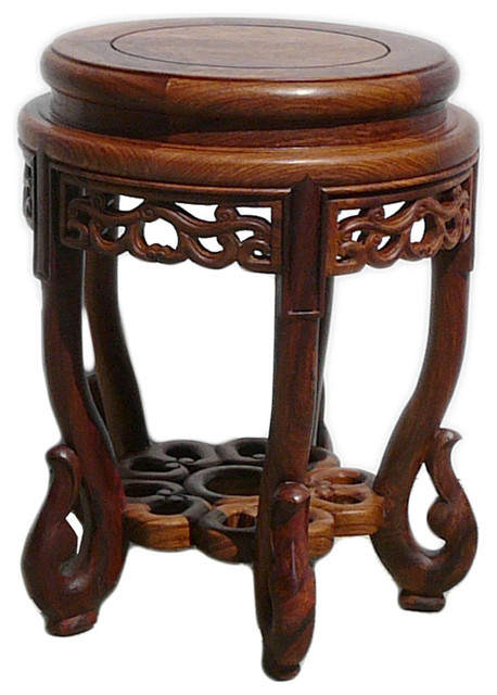 Chinese Huali Rosewood Round Scroll Leg Stool asian-bar-stools-and-counter  sc 1 st  Houzz & Chinese Huali Rosewood Round Scroll Leg Stool - Asian - Bar Stools ... islam-shia.org