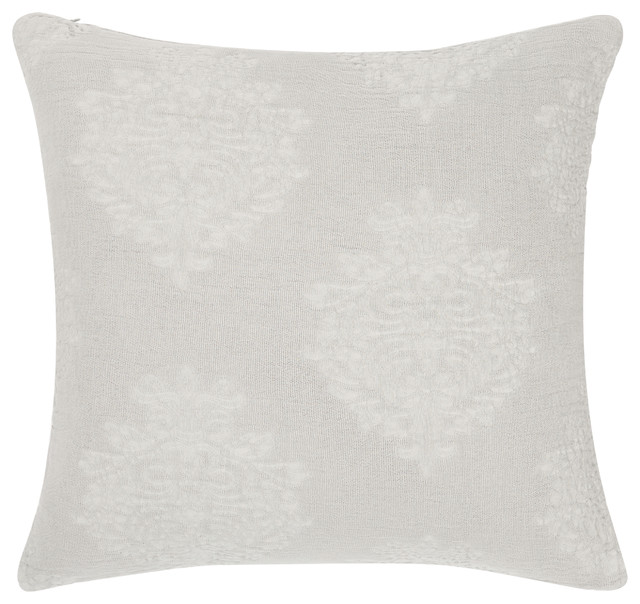 """Regal Stonewashed Cotton Pillow Cover, Gray, 18""""x18""""."""