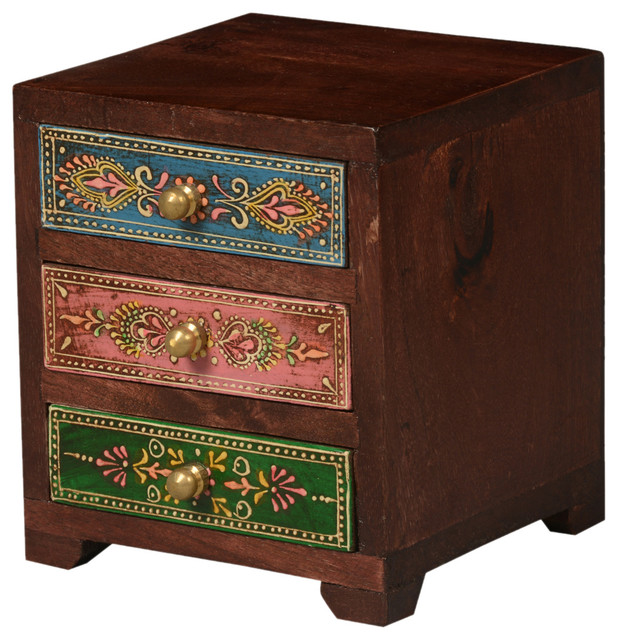 Kolkata Pastel Mango Wood 3 Drawer Mini Chest Jewelry Box