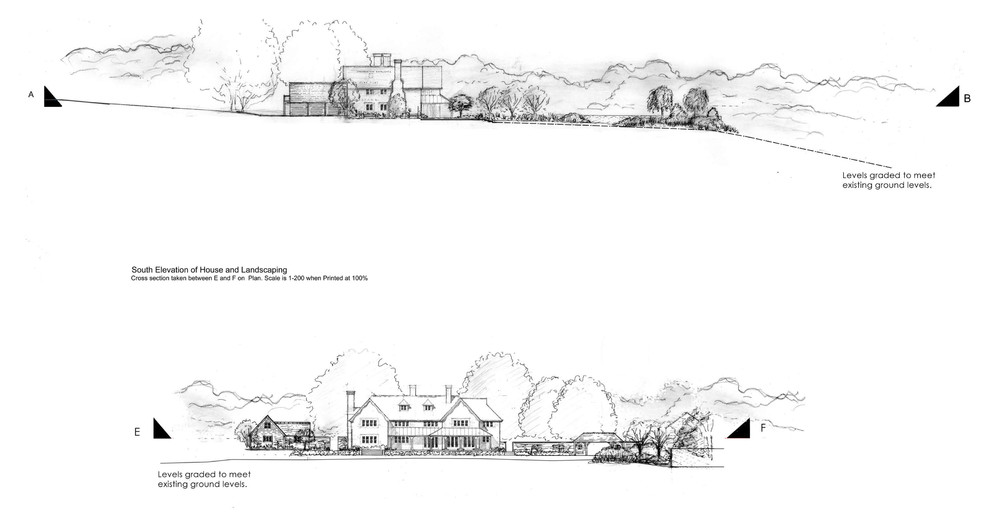 Elevations of house and landscaping