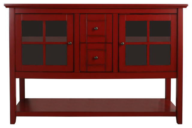 """52"""" Wood Console Table TV Stand, Antique Red"""