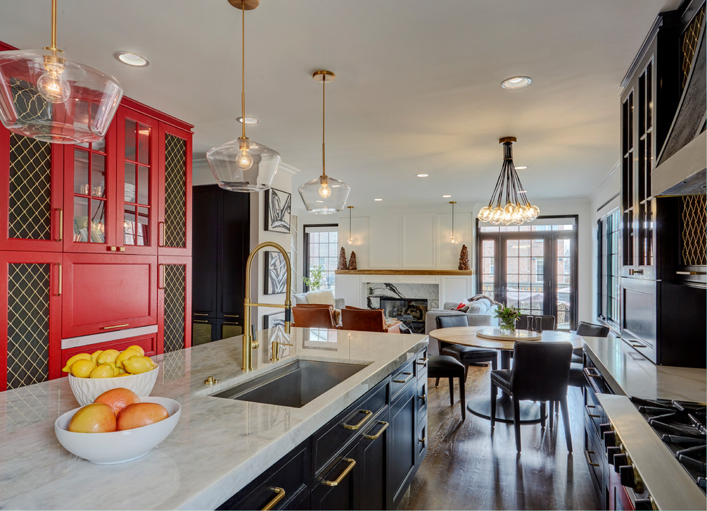 Black Brass And Bold Transitional Chicago By Ddk Kitchen