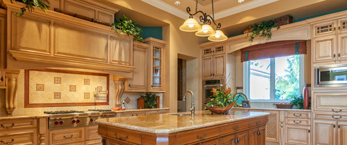 Tan cabinets and design