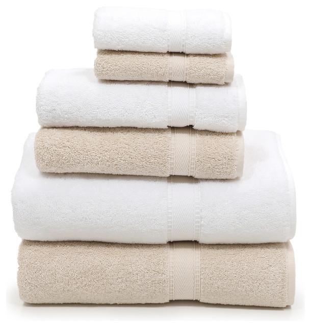 dc7203cbc1af Linum Home Textiles Sinemis Terry 6-Piece Towel Set, Beige & White -  Contemporary - Bath Towels - by Linum Home Textiles