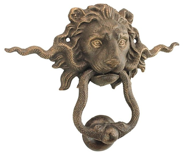 Bon Lion And The Snake Cast Iron Foundry French Royalty Decorative Door Knocker