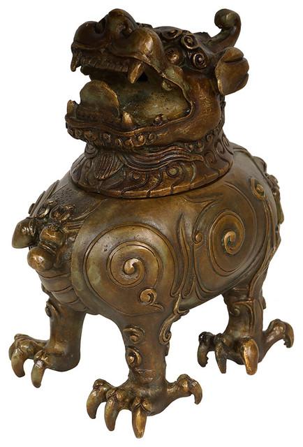 Small Vintage//Antique Chinese Incense Burner Bronze//Brass Candle Burner holder a
