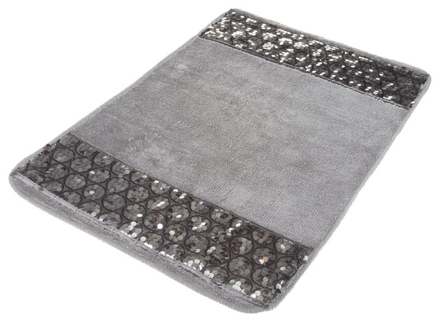 "Contemporary Bathroom Mats sinatra silver bath rug with sequins, 21"" x 32"" - contemporary"