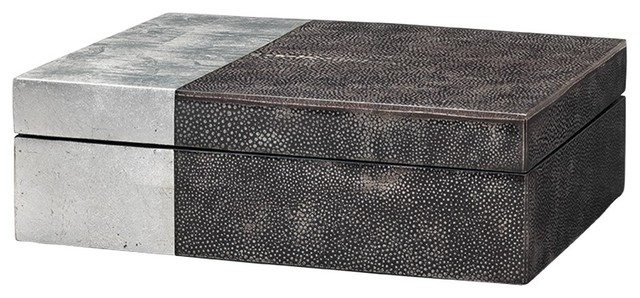 Decorative Boxes Awesome Jamie Young  Decorative Box Silver And Black Leather Firewood Design Decoration