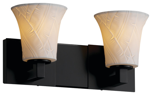 Justice Design Por 8922 20 Banl Mblk Limoges Bathroom Light Matte Black Tropical Vanity Lighting By Mylightingsource