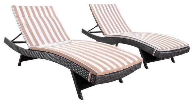 GDF Studio Savana Outdoor Wicker Lounge With Water Resistant Cushion, Set of 2