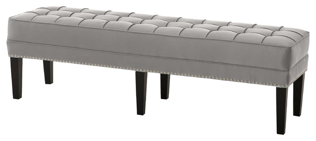 Tribeca Modern Classic Silver Gray Satin Tufted Bench.