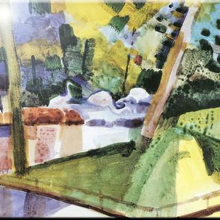 Rikki Knight 6 x 6 August Macke Rocky Landscape Design Ceramic Art Tile