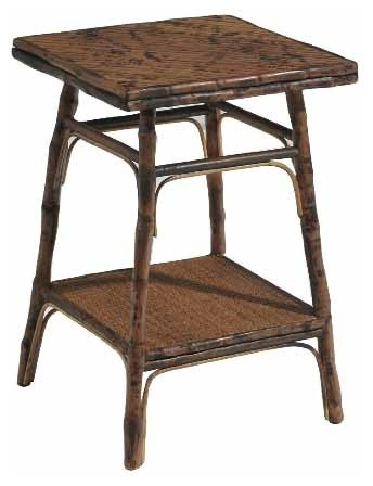 Square Bamboo Side Table, Antiqued Tortoise