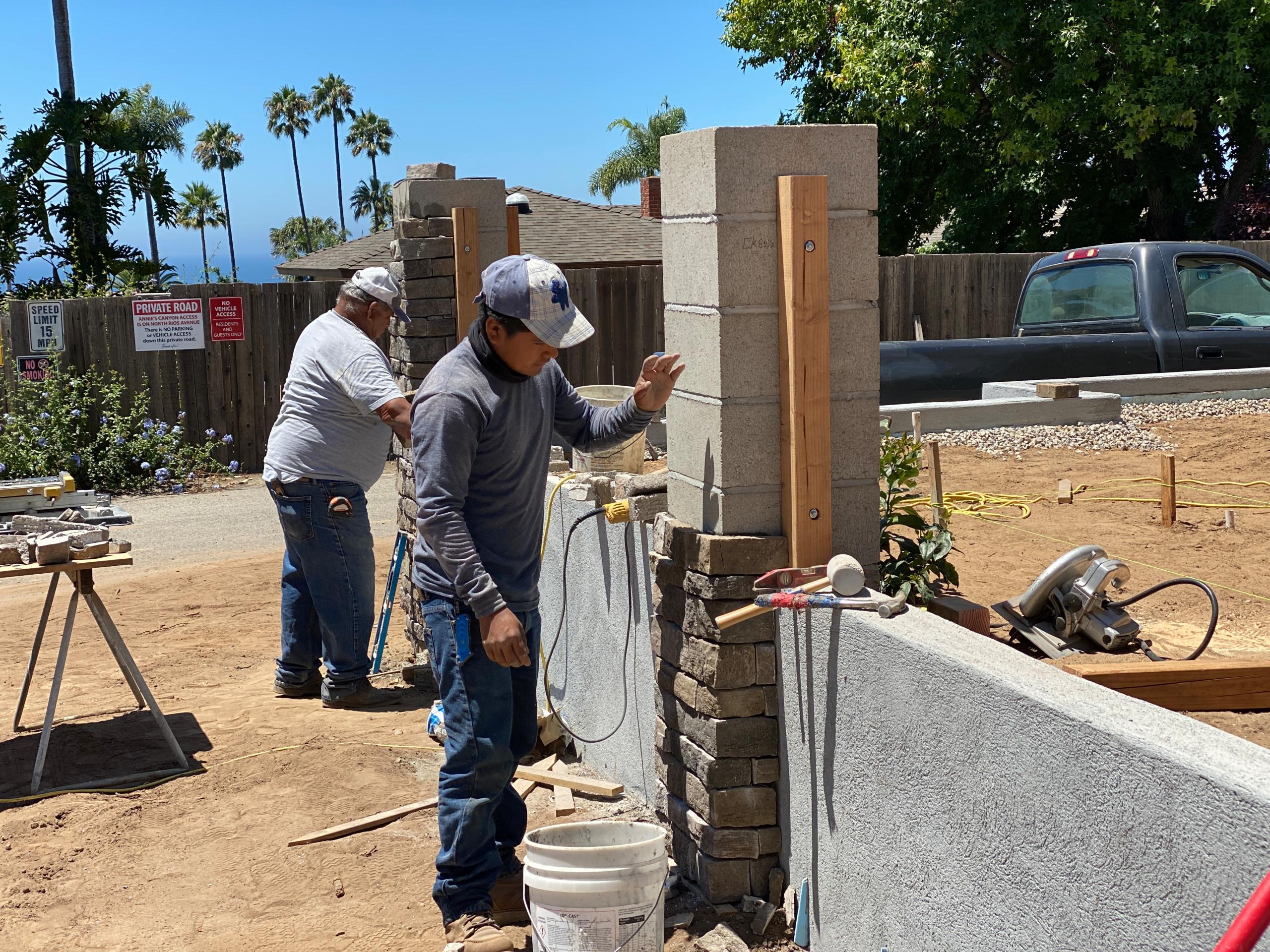 Installing Stone Veneer to a Block Column in Solana Beach