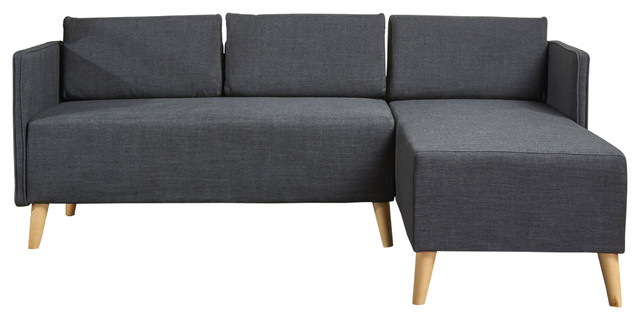 Andresen Mid Century Modern Fabric Chaise Sectional, Muted Dark Gray.