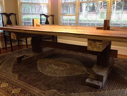 Rustic timber frame farm table with stylish through tenon and wedged ...