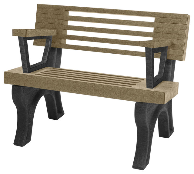 Bench, Cambridge W/back, With Armrests, 4&x27;, Black Legs, Weathered Wood Color.