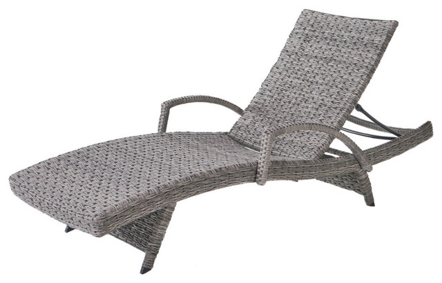 Groovy Gdf Studio Keira Outdoor Armed Aluminum Framed Gray Wicker Chaise Lounge Single Pabps2019 Chair Design Images Pabps2019Com