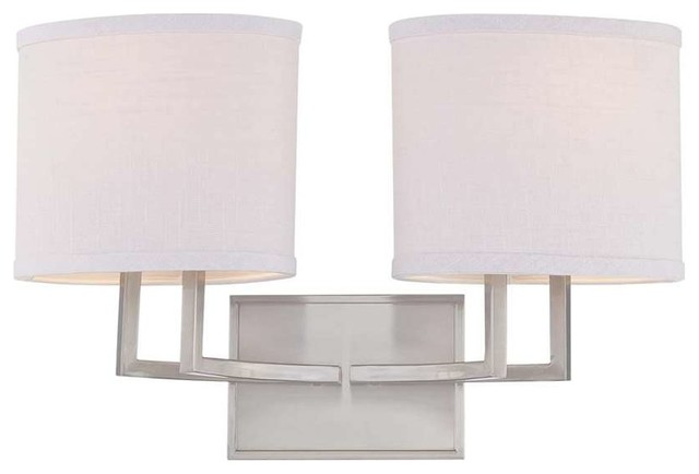 Vanity Light Fabric Shade : Nuvo Gemini 2-Light Vanity Fixture with Fabric Shades - Transitional - Bathroom Vanity Lighting ...