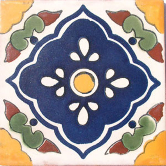 "4""x4"" Mexican Ceramic Handmade Tile #C027"