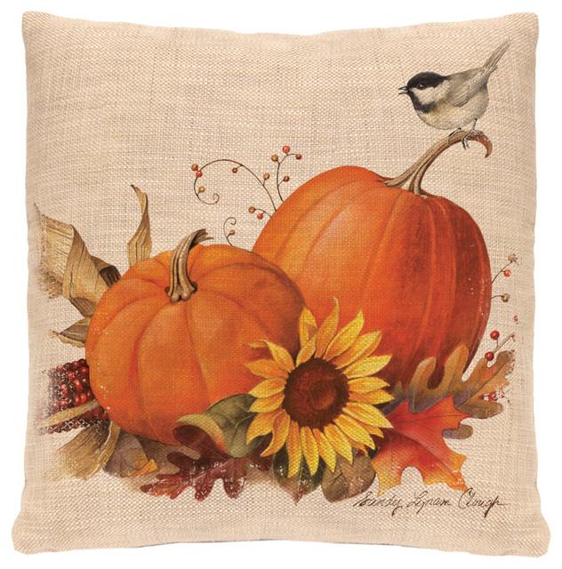 """Harvest Pumpkin Pillow, 18""""x18""""."""