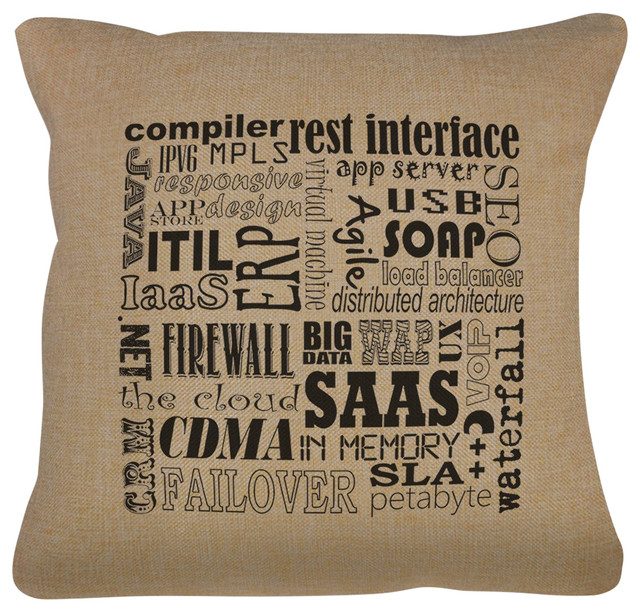 Computer Terms Pillow Cover Natural Zipper Enclosure 40x40 Magnificent Load Pillow Covers