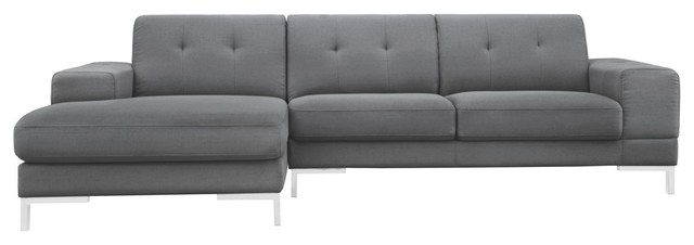 Divani Casa Forli Modern Gray Fabric Sectional Sofa, Left Facing Chaise.