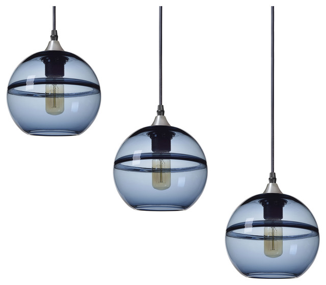 Unique Optic Hand Blown Glass Pendant Lights, Brushed Nickel, 3-Piece Set, Blue.