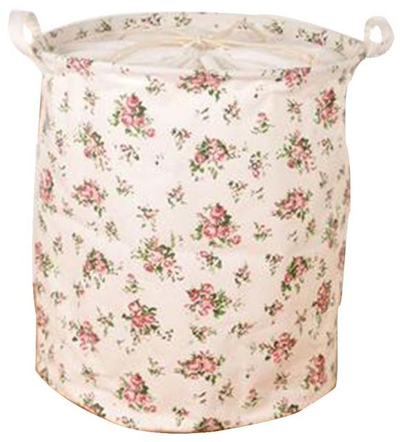 Cotton Linen Waterproof Laundry Basket, Flower.