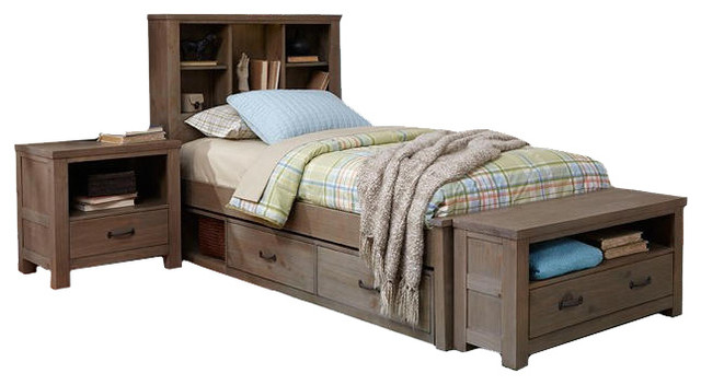 crosspointe twin size bookcase bed with underbed storage drawers traditional kids beds by. Black Bedroom Furniture Sets. Home Design Ideas