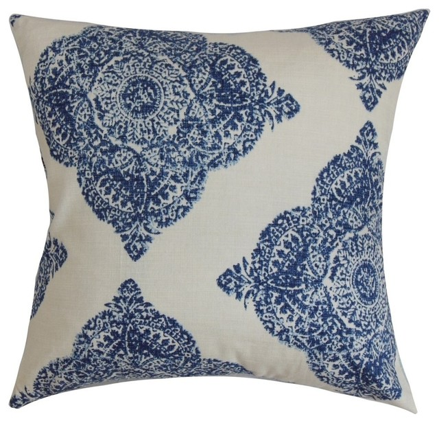 "Daganya Damask Pillow, Indigo, 20""x20""."