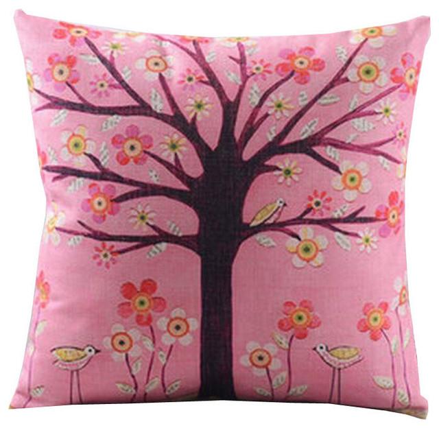 Pink Linen Throw Pillow : Pretty Throw Pillow Cushion Case, Cotton Linen, Tree, Pink - Contemporary - Decorative Pillows ...