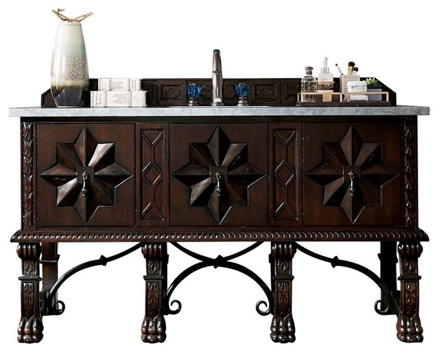"""Balmoral 60"""" Vanity, Antique Walnut, Without Top"""