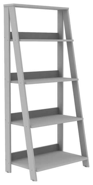 "55"" Painted Wood Ladder Bookshelf, Gray"