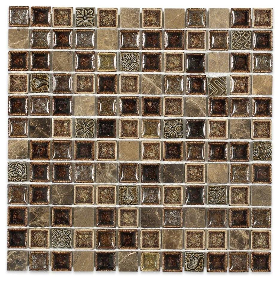 Mocha Glass /& Stone Tile Blend 1 x 1