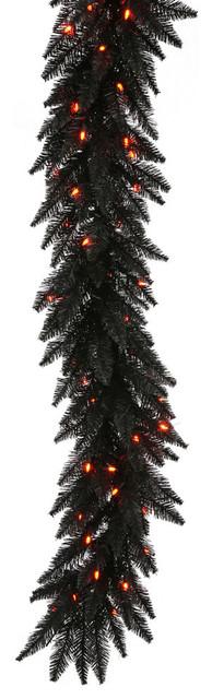 """14""""x9' Garland, Black, Lights: Orange"""