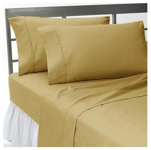 tc solid beige color queen size fitted sheet 100 egyptian cotton