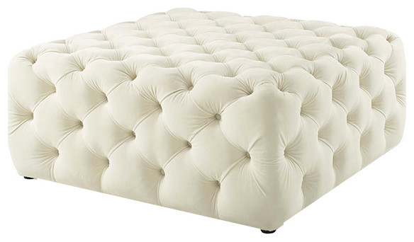 Button Tufted Velvet Ottoman Square Tufted Coffee Table Cocktail