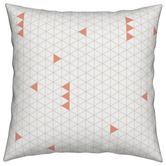 C White Triangles Grid Geometric Nursery Throw Pillow Velvet
