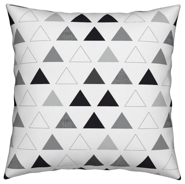 4545fd1f4a8d4 Geometric Black White Gray Triangles Mod Throw Pillow Cover Organic Sateen